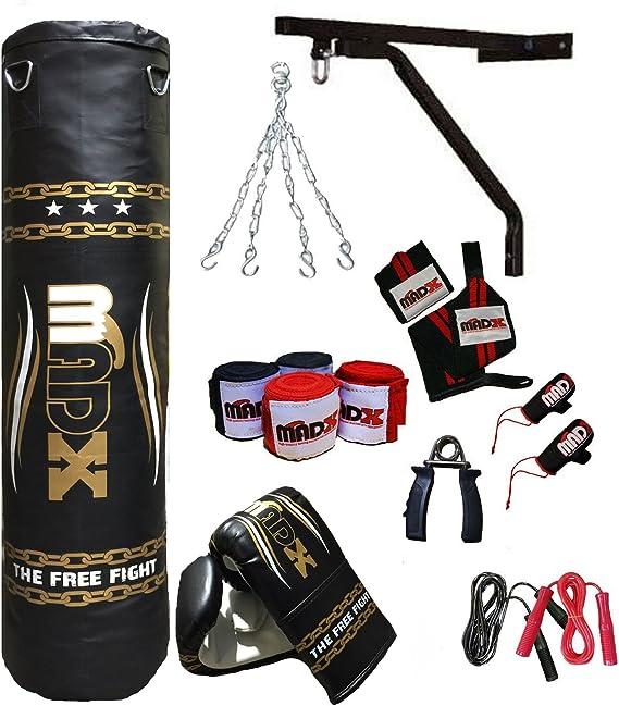 MADX - Set de boxeo (13 piezas, saco de 1,52 m con relleno, guantes, cadena, soporte): Amazon.es: Deportes y aire libre