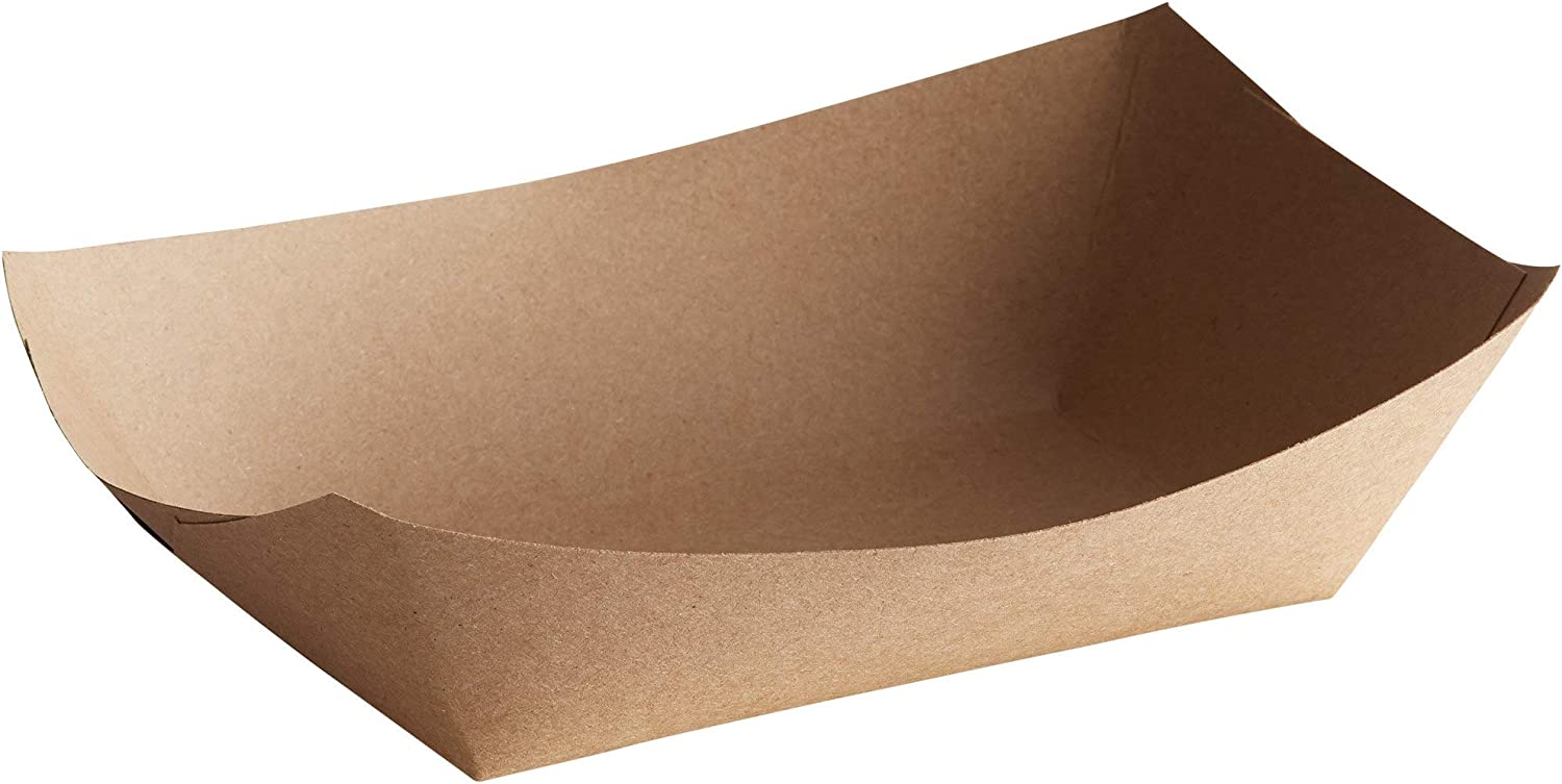 Lightweight Disposable Paper Food Tray – 3Lb Eco Friendly Versatile – Great for Serving Fried Food, Fruits Veggies – Serving Boats for Concession Food & Condiments Paperboard (Brown, 25)