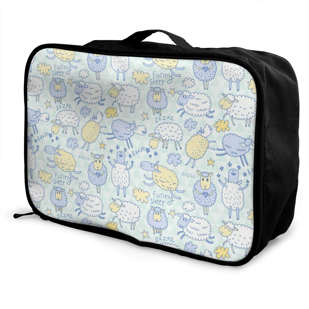 Portable Luggage Duffel Bag Funny Sheep Travel Bags Carry-on In Trolley Handle
