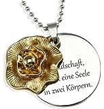 dy_schmuck Gravur Halskette mit Blumen Anhänger und Gravurplatte und persönlicher Gravur / Halskette - DYS027-mG