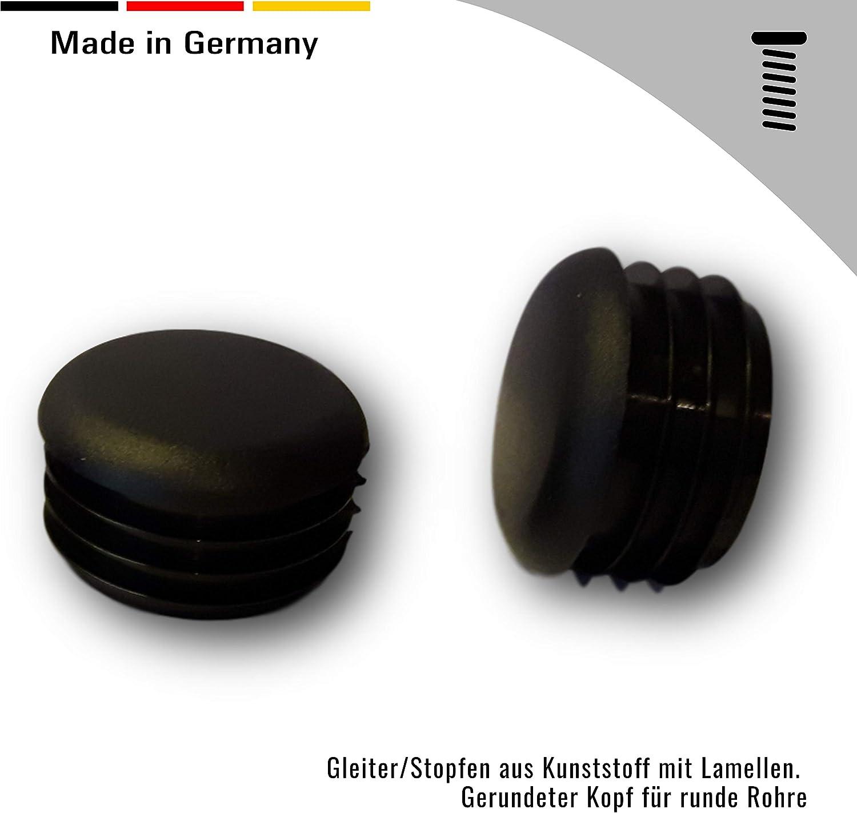 20 Deslizador//tap/ón con l/áminas para tubos redondos cabeza redondeada negro pl/ástico