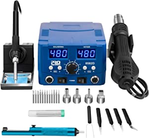 Digital Soldering Station, PROSTORMER 2 in 1 Hot Air Heat Gun Rework Station Soldering Iron Station with °F /°C, LED Display, Digital Templeture Correction and Sleep Function, AC Power Supply