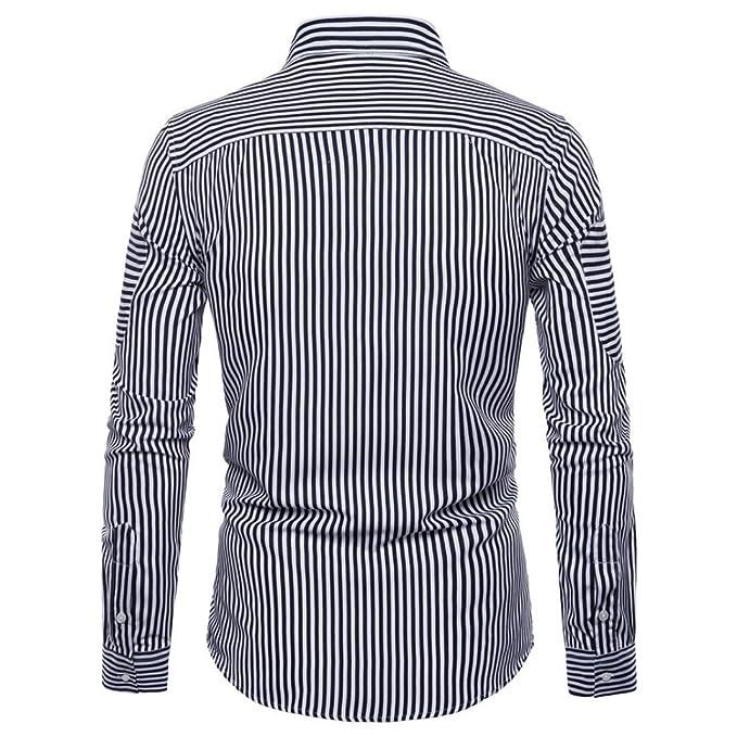 Sannysis Camisa Hombre Casual De Manga Larga con Cuello En V Y T- Shirt Top Blouse Lavado Ultra-Delgado Cuello Alto De Color SóLido Suelta Camisas Suave ...