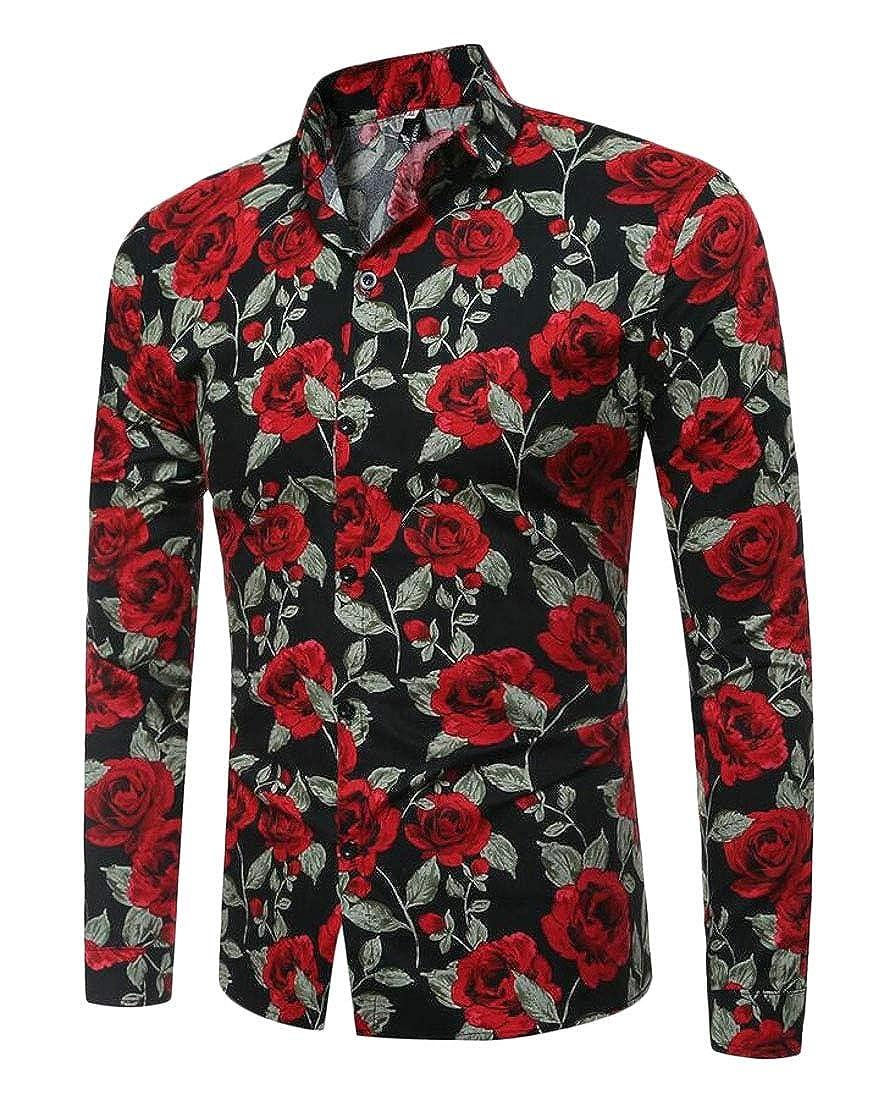 UNINUKOO Unko Mens Long Sleeve Print Regular Fit Casual Button Down Dress Shirts