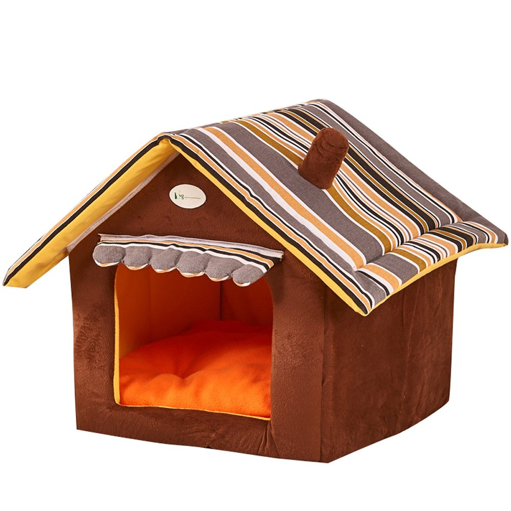 Saymequeen Puppy Cat Indoor Cave Sweet House Bed Dog Play Room Bed (S: 35X30cm/13.7711.81'', coffee) by Pet-Saymequeen