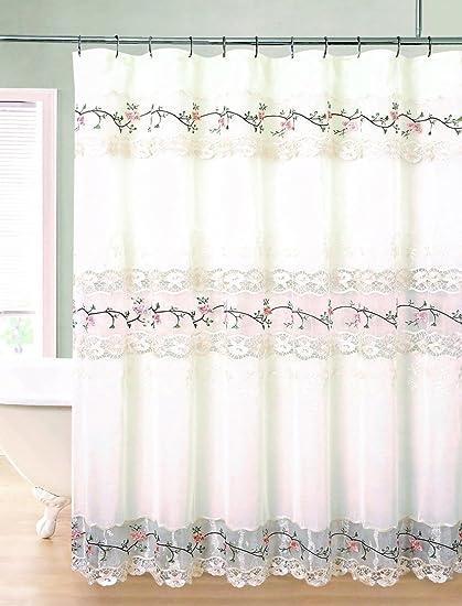 Rose Garden Macrame Shower Curtain Ecru