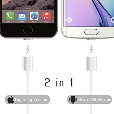 Irún ® 2 in1 magnético Cable Cargador Adaptador para iPhone ...