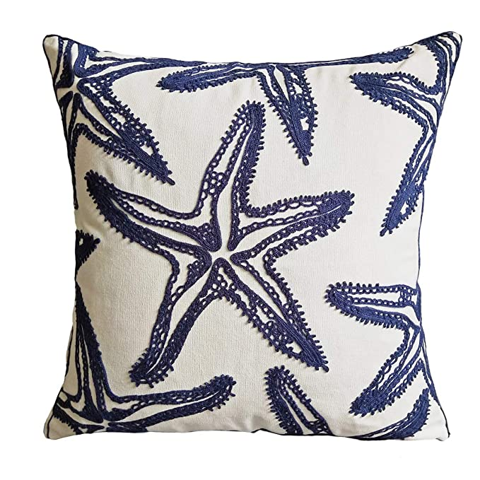 FINOHOME Embroidery Navy Starfish Throw Pillow Cover,Ocean Series Nautical Decorative Pillow Case Imitation Linen Square Cushion Cover for Sofa ...