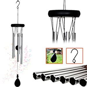 AshmanOnline 20 inch Large Deep Tone Symphony Wind Chimes with 5 Copper Vein Tubes - Tuned Relaxing Melody Gift Decor for Patio, Garden, Home, Balcony, Indoor and Outdoor