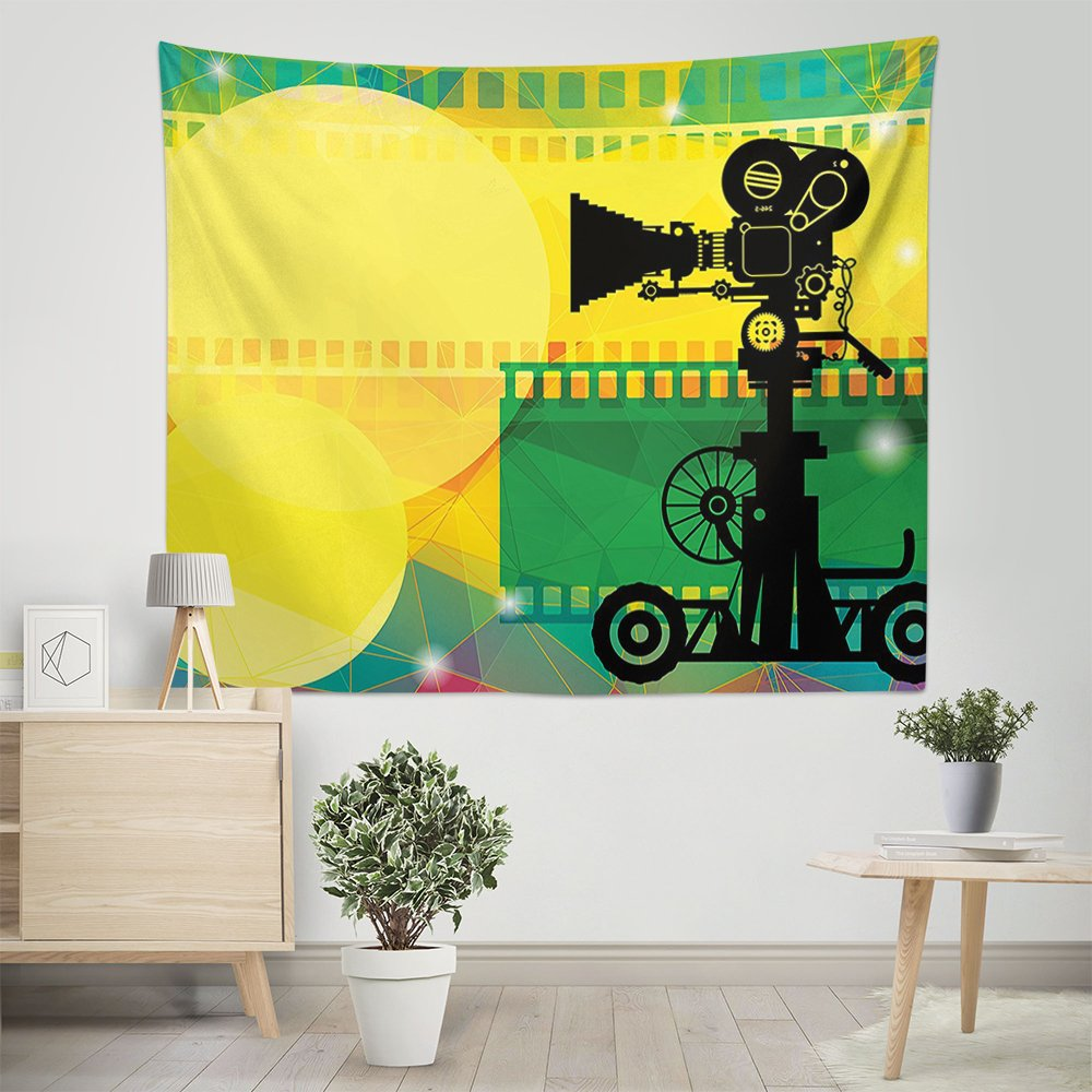 Mugod Tapestry Movie Theater Abstract Vibrant Multicolor Tapestry Wall Hanging Polyester Home Decor for Bedroom Living Room Dorm 60 X 60 Inches