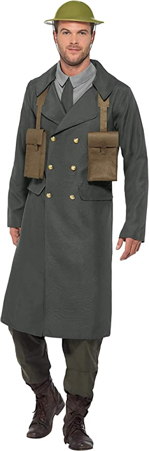 Easy 1940s Men's Fashion Guide Smiffys Mens WW2 British Office Costume with Trench Coat $50.07 AT vintagedancer.com