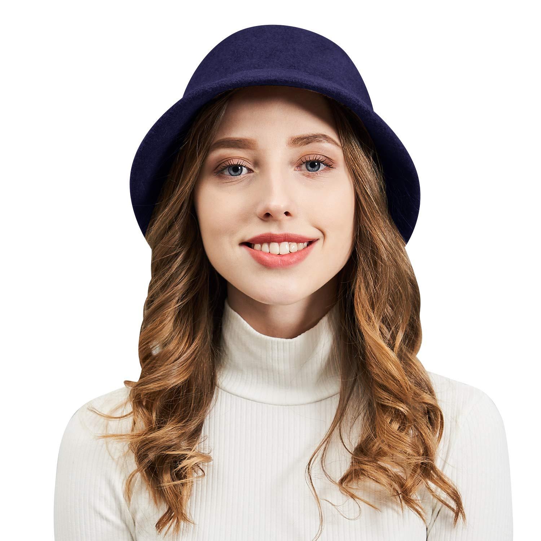 3defeeee6 DianaWu Women Winter Wool Felt Bucket Hat with Multiple Solid Colors