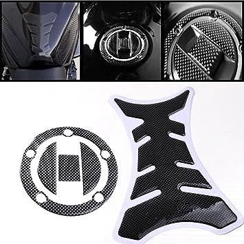 Gas Cap Cover Pad Sticker For Honda CBR 600RR F4i KKmoon Gas Tank Cap Pad Carbon Fiber New Carbon-Look Fuel