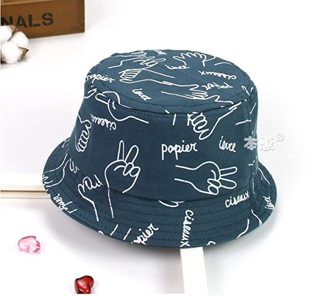 ad106e2c8f2 XINBONG Child Bucket Hat Print Unisex Fisherman Cap Outdoor Spring Flat Beach  Hat Boys Girls Kids Summer Child Cap Dark Blue at Amazon Women s Clothing  ...