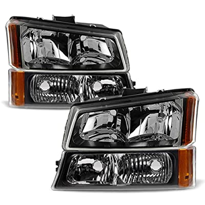 ACANII - For Black 2003-2006 Chevy Silverado Avalanche Headlights+Bumper Signal Parking Lamps Driver + Passenger Side: Automotive