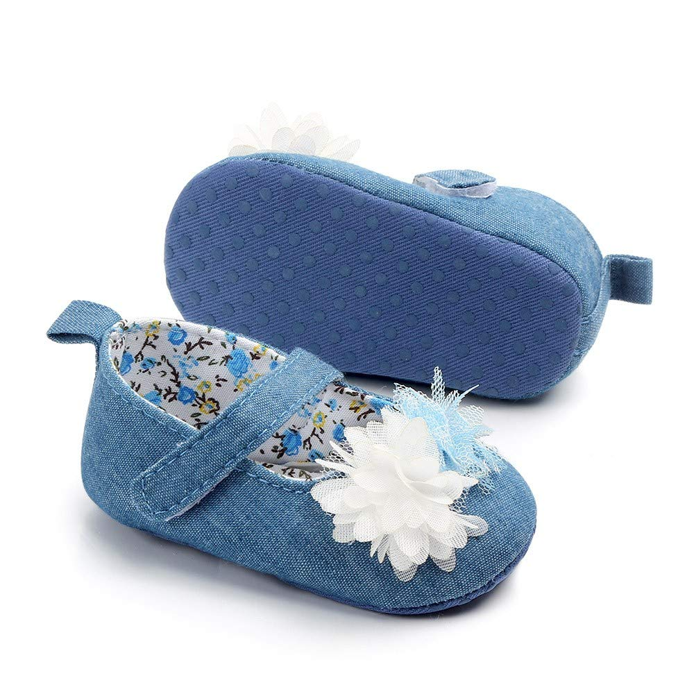 NUWFOR Newborn Baby Cute Girls Canvas Flower Single First Walker Soft Sole Shoes(Blue,0-3Months) by NUWFOR (Image #3)