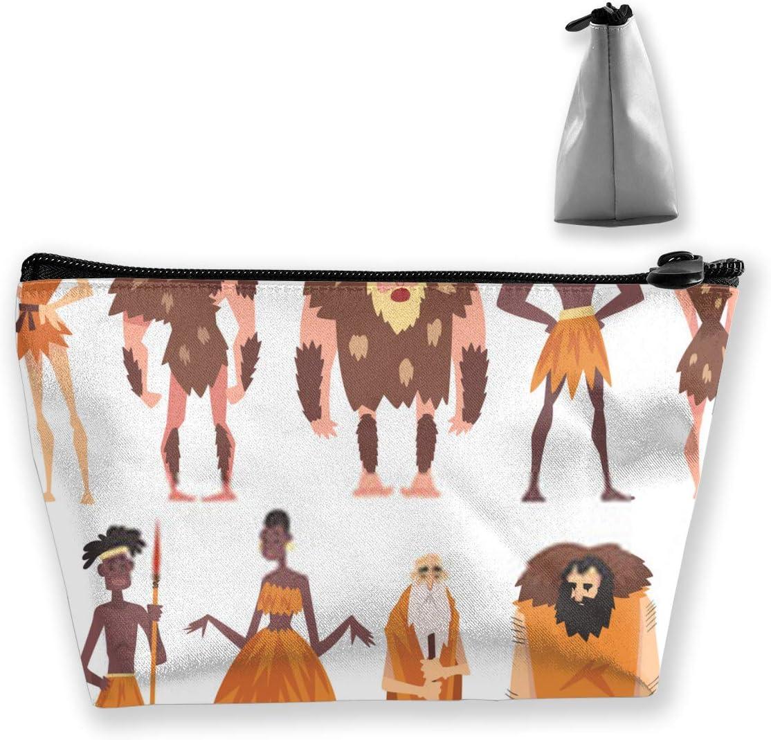 Conjunto de Personas prehistóricas Edad de Piedra primitiva Hombres y Mujeres nativos en Pieles de Animales Estuche para lápices Estuche para lápices Bolso de Maquillaje cosmético