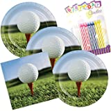 Sports Fanatic Golf Theme Plates and Napkins Serves 16 With Birthday Candles