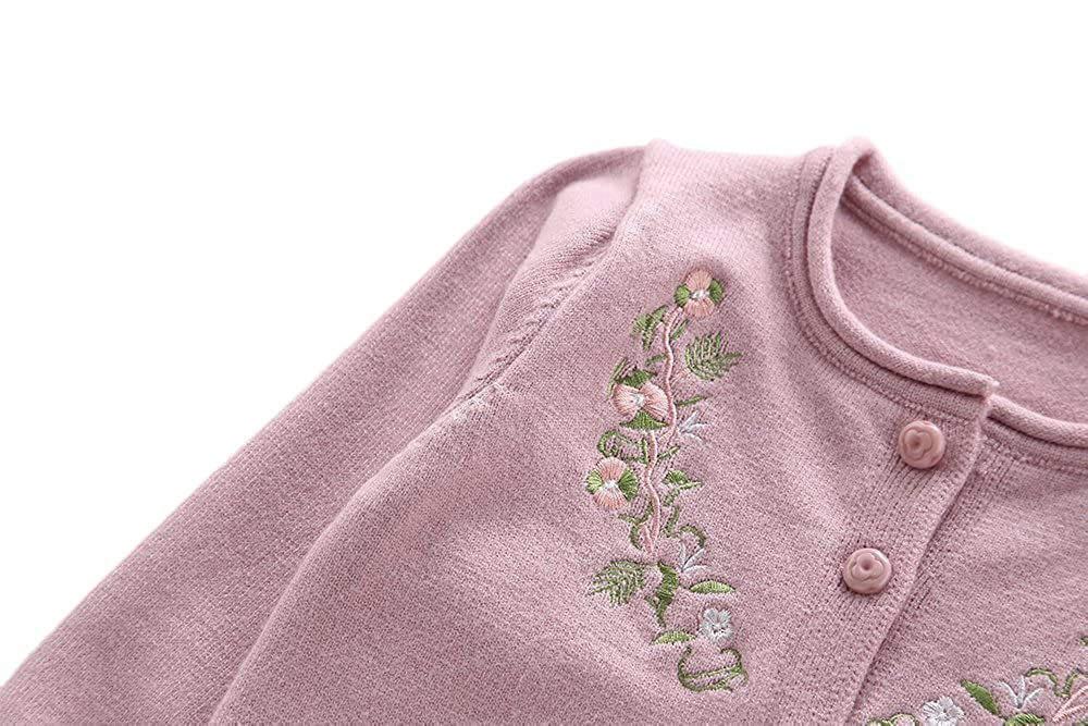 Moonnut Girls Cardigan Sweaters Floral Embroidered Long Sleeve Knitted Outwear