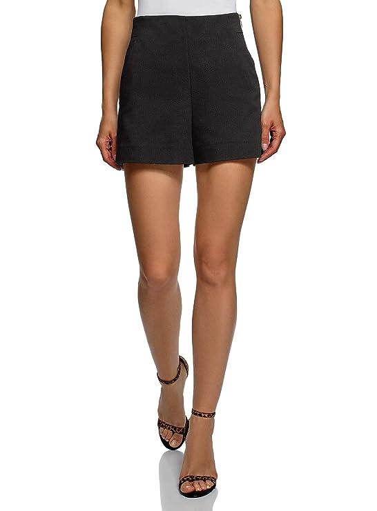 oodji Pantalones cortos de forma de trapecio con cremallera en el lateral.