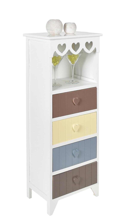 Ts-ideen Kommode Schrank in Weiß mit Herz-Dekoration Flur Bad Bad Flur Küchen Kinderzimmer Regal mit 4 Schubladen und einem Fach d8bdba