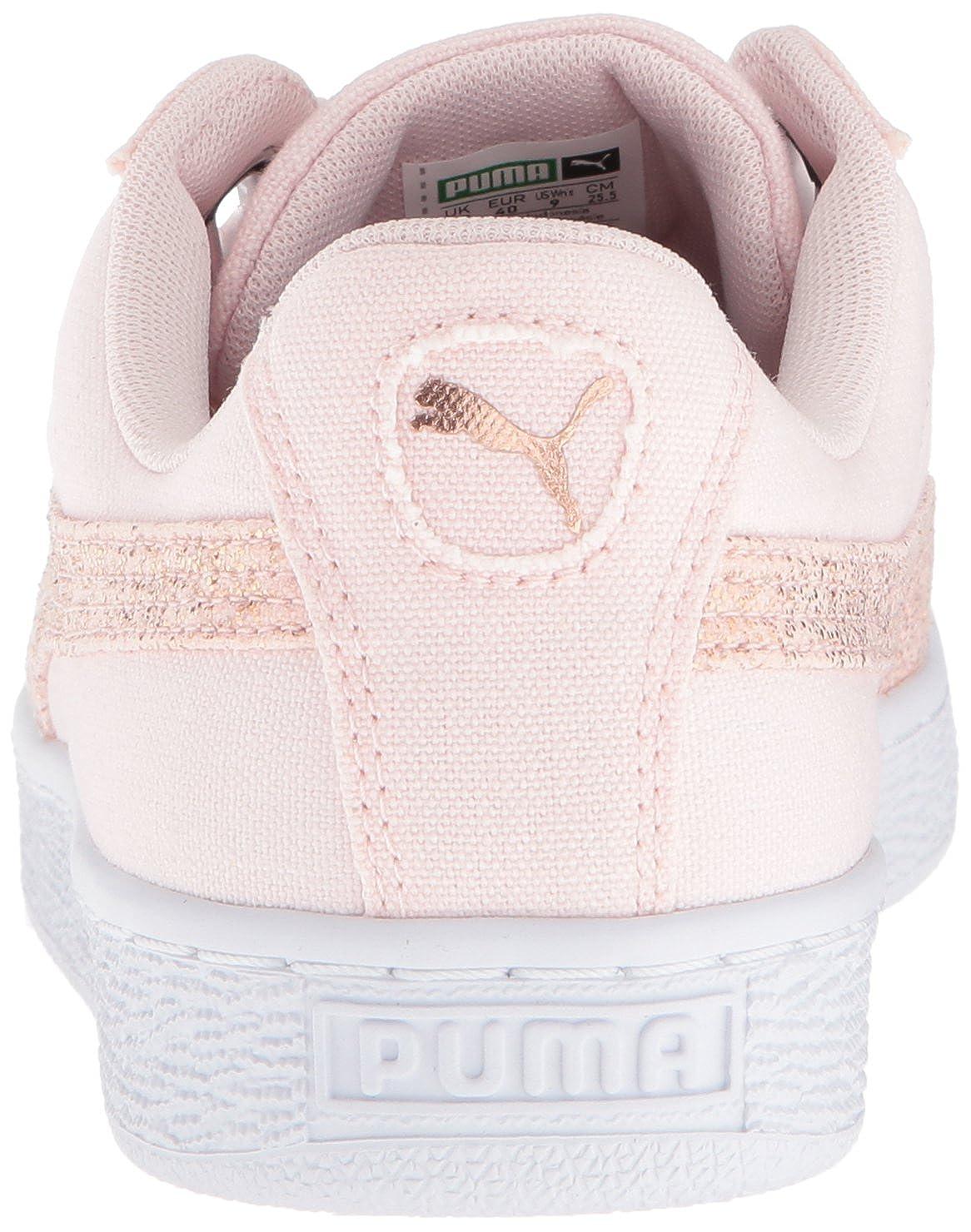 PUMA PUMA PUMA Damens's Basket Heart Canvas Wn Sneaker, Pearl Weiß-Rose Gold, 9.5 M US - 0a4902