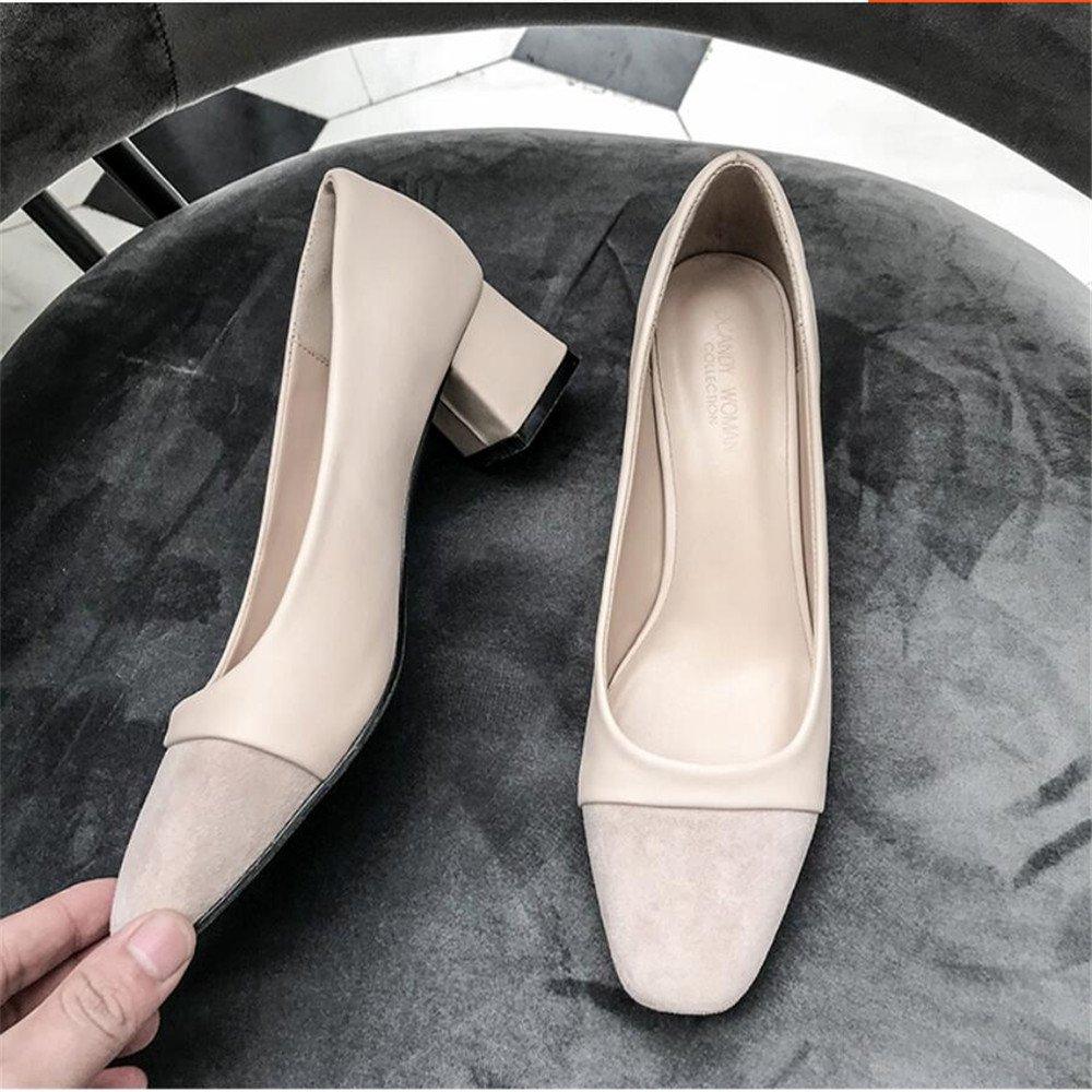 Xue Qiqi Court Schuhe Quadratischer Kopf Rau mit mit Rau Weiblicher Freizeit des Wilden Flachen Munds Beschuht Einzelne Einzelne mit Arbeitsschuhfußschuhen, 39, Beige - 31d0ee