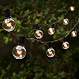 Lightdot Globe String Lights Indoor, 50ft G40 Outdoor Patio String Lights 2700K with 50+1 Edison Glass Clear Bulbs, Waterproo