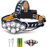 Rabbitstorm Linterna LED Frontal Lámpara Recargable Headlamp, 8 LED Linterna 8 Modos con Cable USB, Impermeable LED Cabeza Li