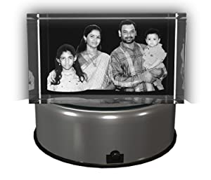 AADYA CRYSTAL 3D Family Photo Laser Engraved Crystal Cube (6x6x10 cm) with Multicolor LED Light Base