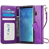 J&D Funda compatible con Galaxy S9 Plus, funda tipo cartera con bloqueo RFID, ajuste delgado, resistente a los golpes, funda