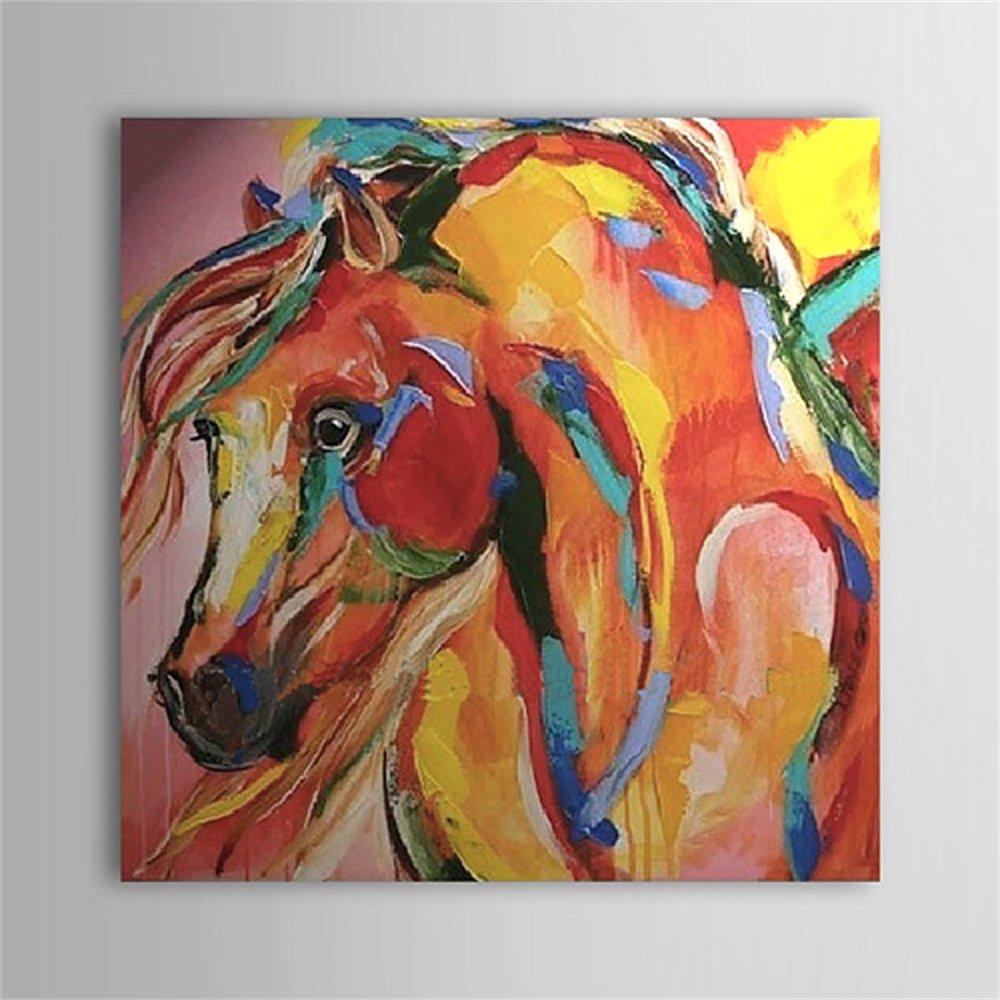 Wand Dekoration Ölgemälde Wandbild Wandkunst Moderne Kunst Hand Malerei Pferd Wohnzimmer Schlafzimmer Rahmenlose Leinwand Bereit Zu Hängen,80×80Cm