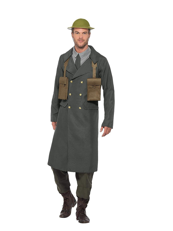 Smiffys 47243XL WW2 British Office Kostüm mit Trenchcoat, Herren, Grün, XL, 116,8-122 cm B07BB657YC Kostüme für Erwachsene Niedriger Preis und gute Qualität   New Listing
