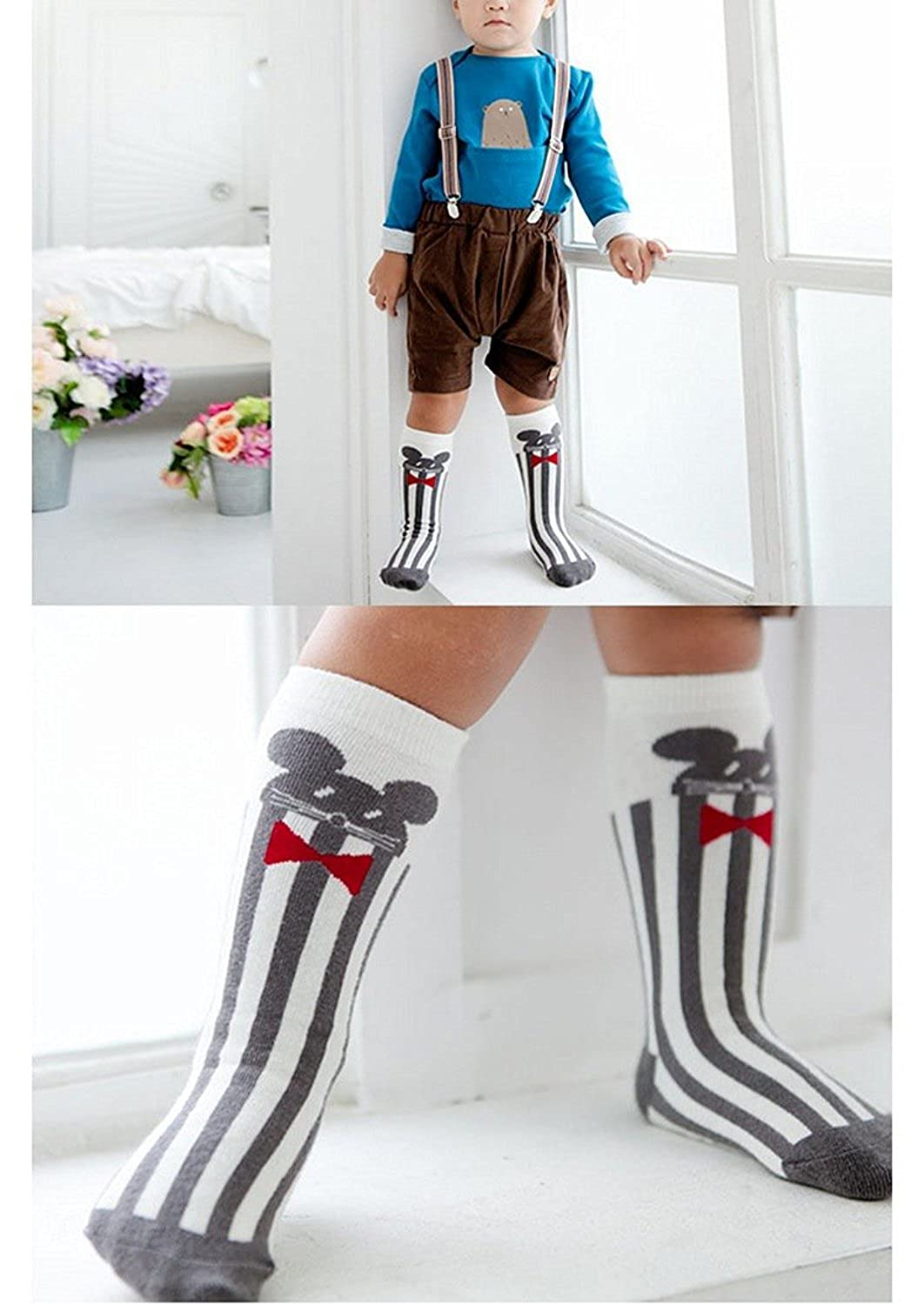 6 Pairs Non Skid Toddler Socks Baby Boy Girl socks with Grid Cotton Knee High Boot Socks