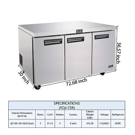Refrigerador comercial para debajo del mostrador de 72 pulgadas ...
