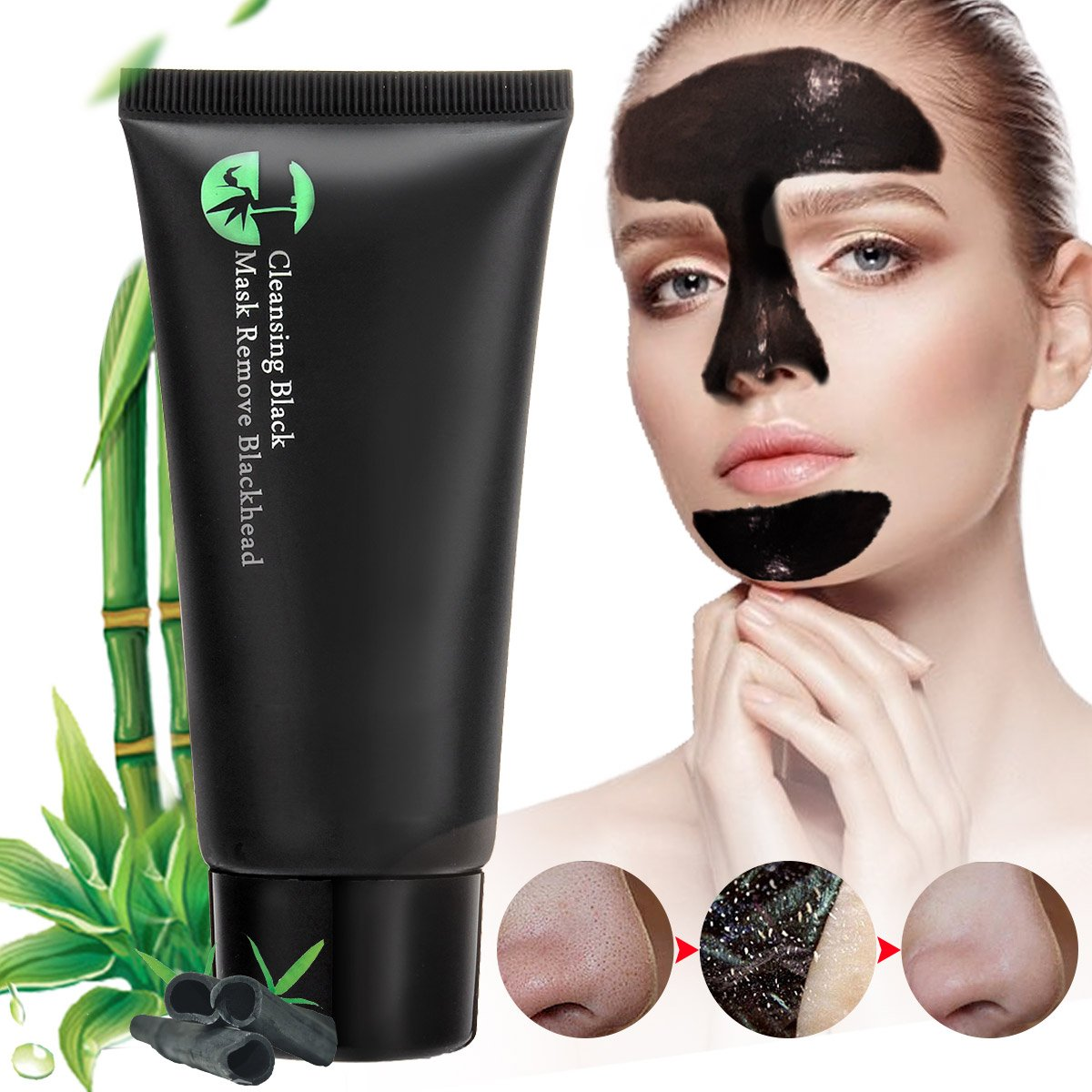 Blackhead Mask, BINKBANGBANGDA Face Mask Black Blackhead Remover Mask Deep Cleansing Pore Blackhead Remove Blackheads Cleansing Mask Peel Off Mask Acne Mask Blackhead Cleansing Mask (50ml)