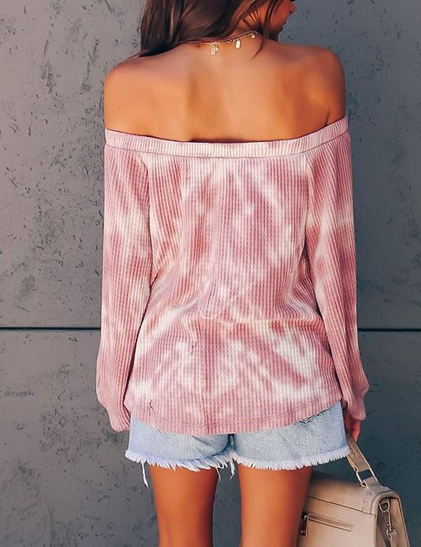 BMJL Women\'s Casual Long Sleeve Tie Dye Shirt Off Shoulder Tops Cute Plus Size Blouse(Medium,Tie dye)