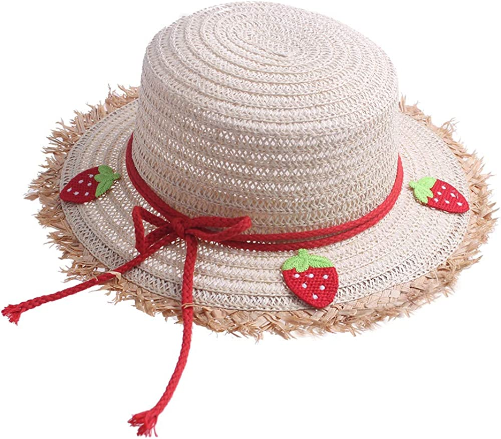 kimmyku Toddler Kids Straw Sun Hat Wide Brim with Braided Band Bowknot Strawberry /…