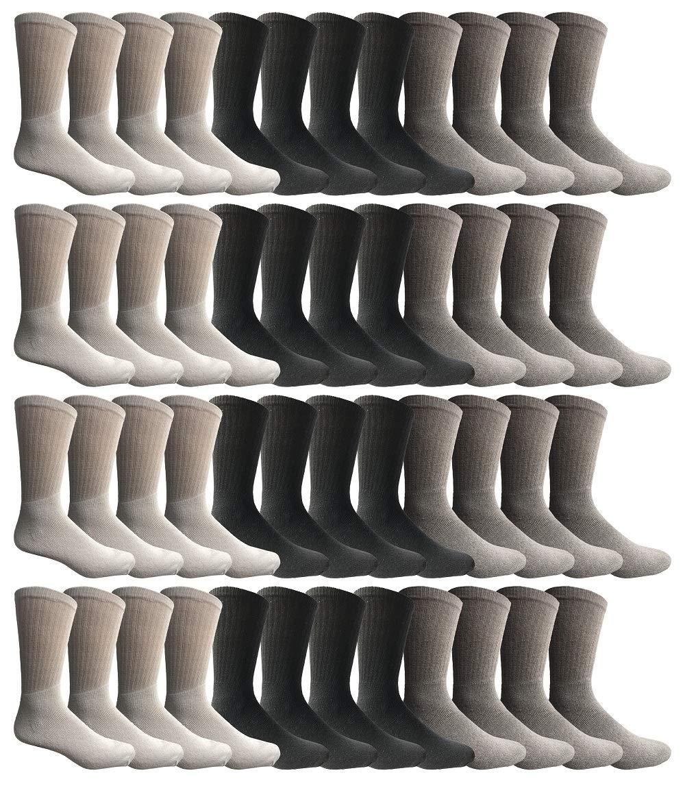SOCKS'NBULK 60 Pairs Wholesale Bulk Sport Cotton Unisex Crew Socks, Ankle Socks, Value Deal (Womens - Assorted Crew) by SOCKS'NBULK