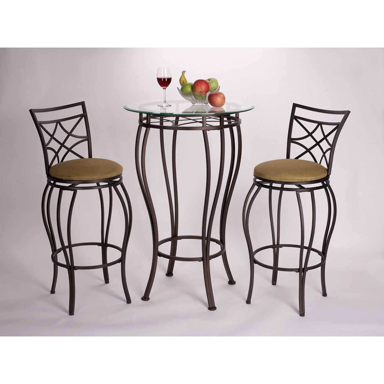 Amazon.com: Home Source Industries 3-Piece Web Bistro with a Glass ...