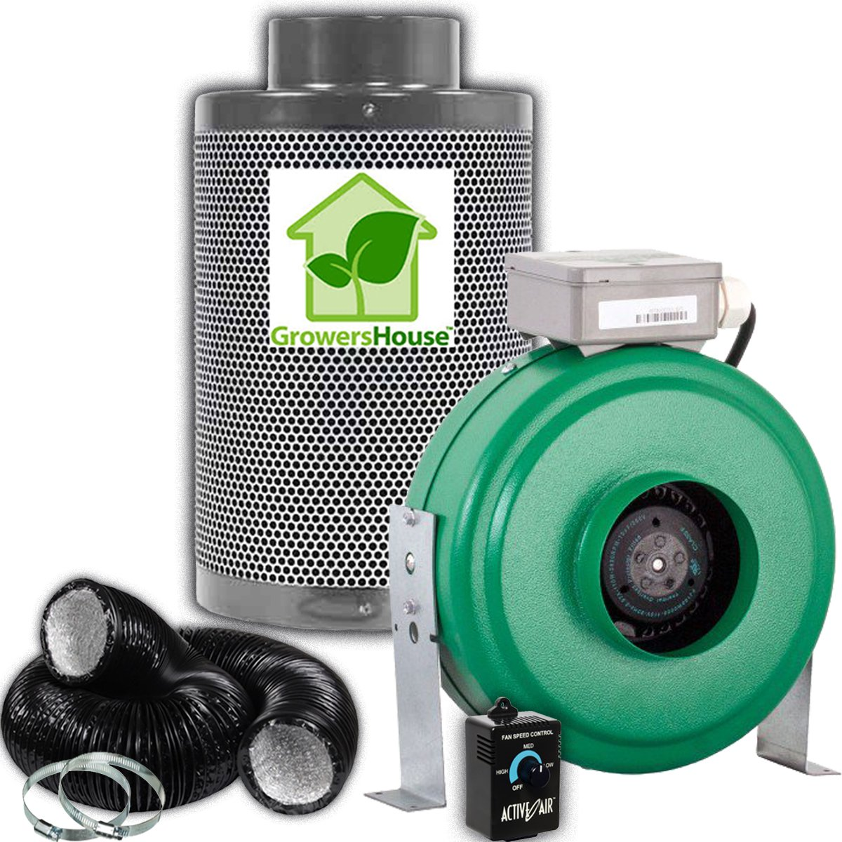 Growers House 4'' Carbon Filter, 2 Pre-Filters, and Active Air 4 inch 165 CFM Duct Inline Fan | FREE 25 Feet Lightproof Ducting and Active Air Controller Combo for Quiet Grow Tent Ventilation