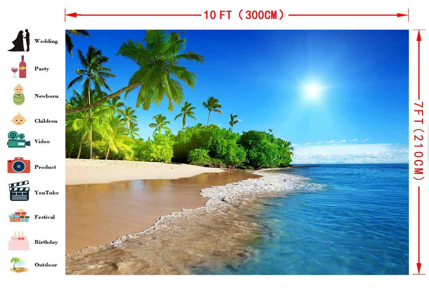 FHZON 10x7ft Summer Sunshine Backdrop Beach Coast Tropical Paradise Blue Sea Sky Coconut Tree Photography Background Themed Party YouTube Backdrop Photo Booth Studio Props FH1200 by FHZON (Image #2)