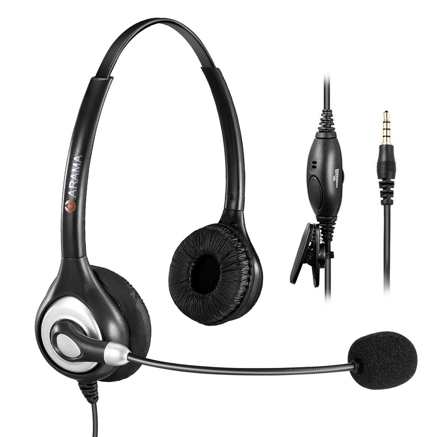Arama Cell Phone Headset with Noise Canceling Boom Mic and Adjustable Fit Headband for iPhone, Samsung, LG, HTC, Blackberry, Huawei, ZTE Mobile Phone and Smartphones with 3.5 mm Jack(A600MP)