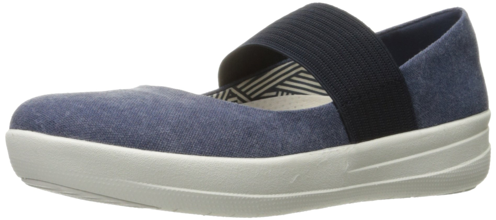 FitFlop Women's F-Sporty Mary Jane Flat, Midnight Navy, 6.5 M US