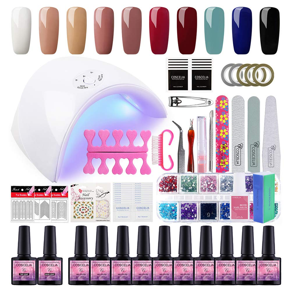 Saint-Acior Gel Nail Polish Starter Kit with 36W LED UV Nail Dryer Curing Lamp,10 Colors Gel and Base Top Coat Manicure Nail Tools Set by Saint-Acior