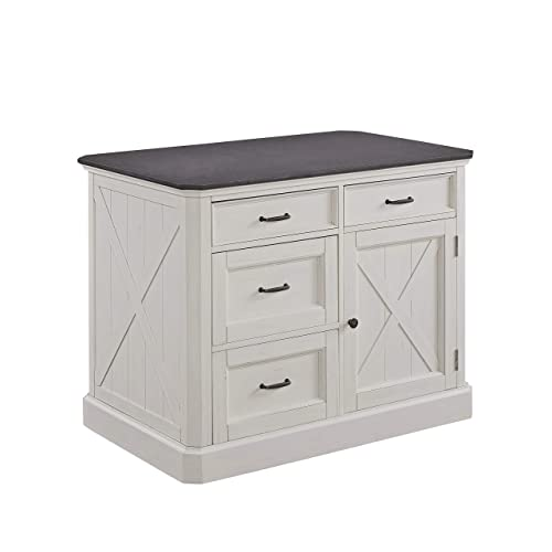 Home Styles Seaside Lodge White Kitchen Island with Brushed Finish, Quartz Top, Wood Panel Doors, Four Drawers, and Adjustable Shelves