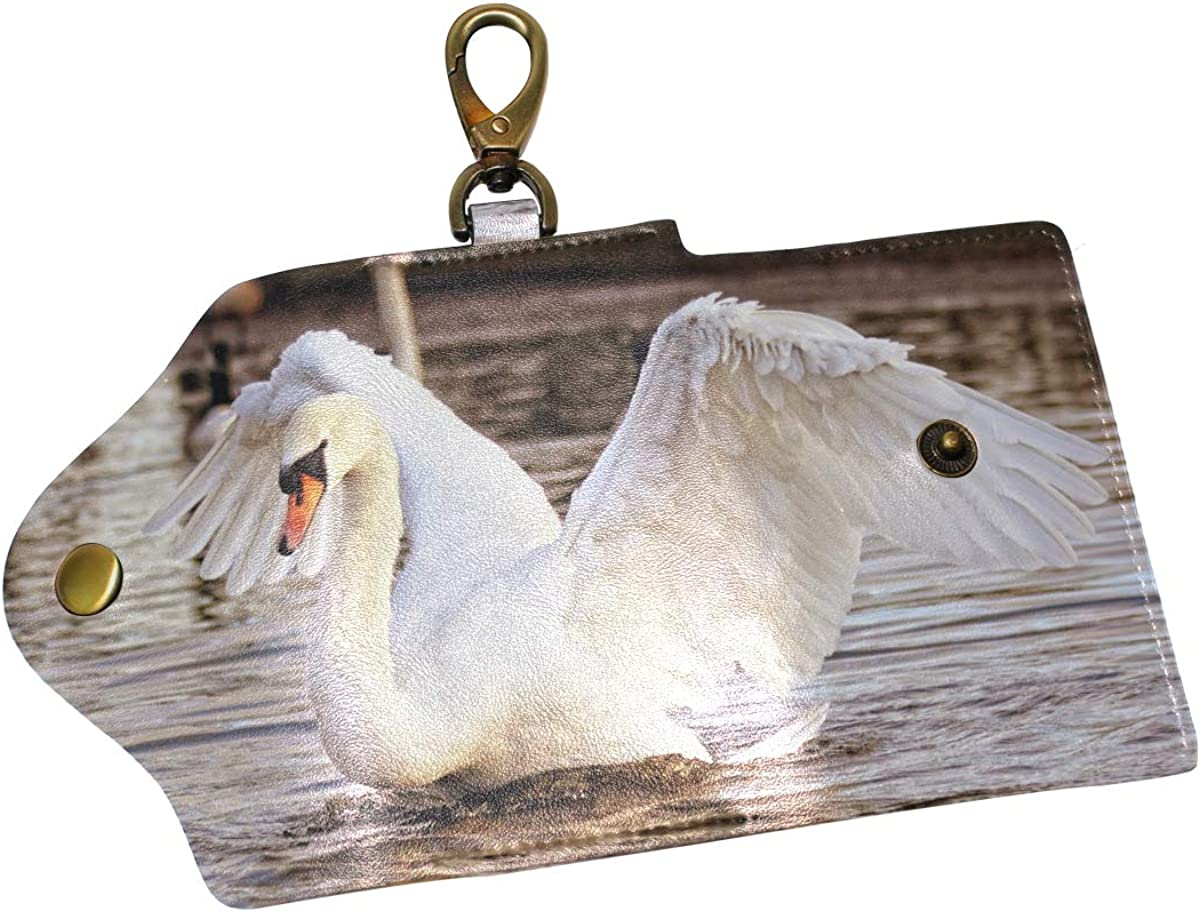 KEAKIA Swan Leather Key Case Wallets Tri-fold Key Holder Keychains with 6 Hooks 2 Slot Snap Closure for Men Women