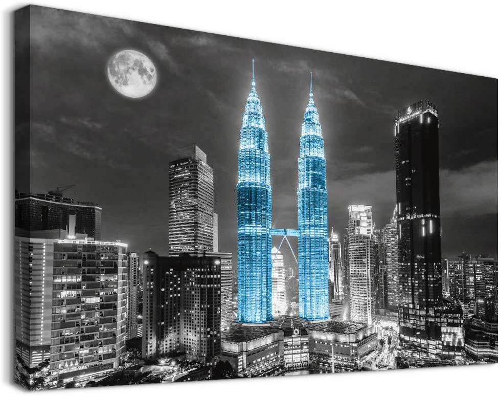 Canvas Wall Art for Bedroom bathroom Wall decor paintings Black and White City Landscape Canvas art Print Modern blue Giclee Artwork for Living Room Decoration Ready To Hang Pictures 16 x 12 Inch
