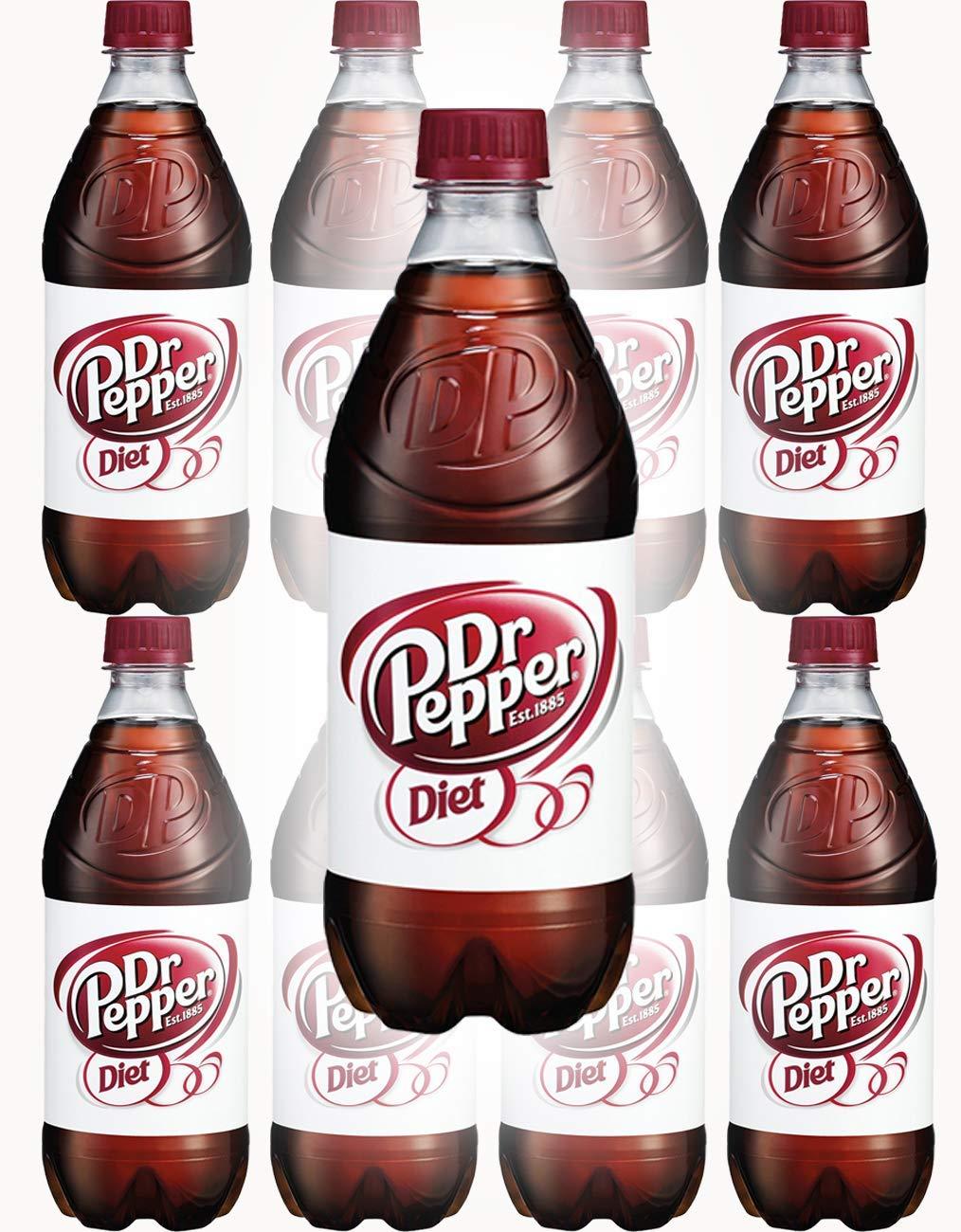 Diet Dr. Pepper Soda, 20oz Bottle (Pack of 8, Total of 160 Fl Oz)