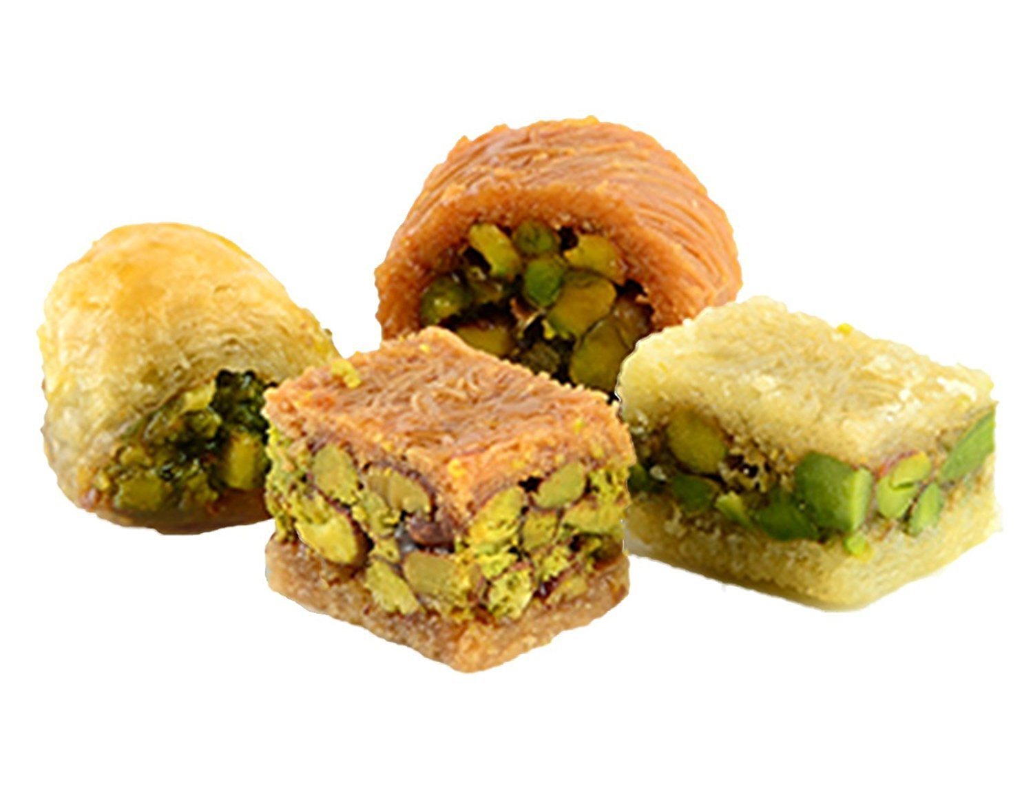 Assorted Baklava Sweets w/Pistachio (20 Oz) : 23-25 Pcs small cut - Imported Fresh from Lebanon - THE ORIGINAL Recipe From Middle East - Assorted Baklava Pastry Pistachios (20 Oz) by Hallab 1881 (Image #2)